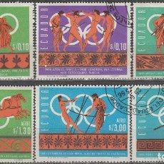 Sellos: ECUADOR Nº 1269/74, HISTORIA DE LOS JUEGOS OLIMPICOS, USADO (SERIE COMPLETA). Lote 191986456