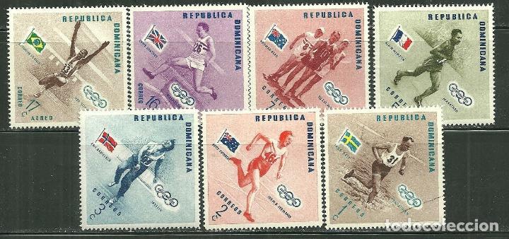 DOMINICANA 1957 IVERT 457/61 Y AEREO 109/10 *** JUEGOS OLIMPICOS DE MELBOURNE - DEPORTES (Sellos - Temáticas - Olimpiadas)