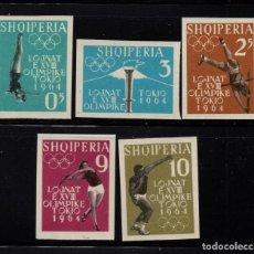 Sellos: ALBANIA 576/80** SIN DENTAR - AÑO 1962 - JUEGOS OLIMPICOS DE TOKIO . Lote 193944412