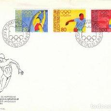 Sellos: LIECHTENSTEIN IVERT 787/9, JUEGOS OLIMPICOS DE LOS ANGELES PRIMER DIA 12-6-1984. Lote 194064220