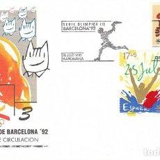 Sellos: EDIFIL 3212/4, JUEGOS OLIMPICOS DE BARCELONA, PRIMER DIA DE 16-7-1992 SFC. Lote 194064642