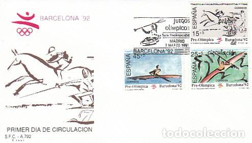 EDIFIL 3104/6, JUEGOS OLIMPICOS BARCELONA, VI SERIE PREOLIMPICA, PRIMER DIA 7-3-1991 SFC (Sellos - Temáticas - Olimpiadas)