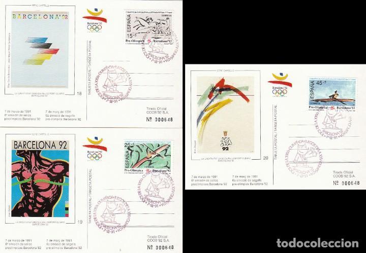 EDIFIL 3104/6, JUEGOS OLIMPICOS BARCELONA, VI SERIE PREOLIMPICA, PRIMER DIA 7-3-1991 COMITE OLIMPICO (Sellos - Temáticas - Olimpiadas)