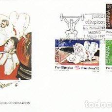 Sellos: EEDIFIL 3054/6, JUEGOS OLIMPICOS BARCELONA, IV SERIE PREOLIMPICA, PRIMER DIA 7-3-1990 SFC. Lote 194493890