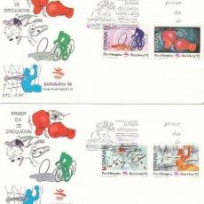 Sellos: EDIFIL 2994/7, JUEGOS OLIMPICOS BARCELONA, II SERIE PREOLIMPICA, PRIMER DIA DE 7-3-1989 SFC. Lote 194494581
