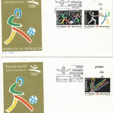 Sellos: EDIFIL 3025/7, JUEGOS OLIMPICOS BARCELONA III SERIE PREOLIMPICA PRIMER DIA 3-10-1989 2 SOBRE DEL SFC. Lote 194494901