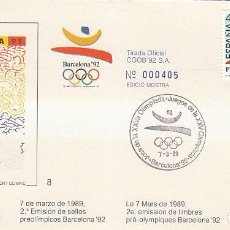 Sellos: EDIFIL 2994/7, HIPICA. JUEGOS OLIMPICOS BARCELONA, II SERIE PREOLIMPICA, PRIMER DIA 7-3-1989 COB. Lote 194861770