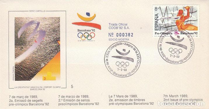 EDIFIL 2994, BALONMANO. JUEGOS OLIMPICOS BARCELONA, II SERIE PREOLIMPICA, PRIMER DIA 7-3-1989 COB (Sellos - Temáticas - Olimpiadas)