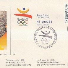 Sellos: EDIFIL 2994, BALONMANO. JUEGOS OLIMPICOS BARCELONA, II SERIE PREOLIMPICA, PRIMER DIA 7-3-1989 COB. Lote 194861990