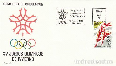 EDIFIL 2932, PATINAJE SOBRE HIELO, JUEGOS OLIMPICOS DE INVIERNO EN CALGARY, PRIMER DIA 15-2-1988 SFC (Sellos - Temáticas - Olimpiadas)