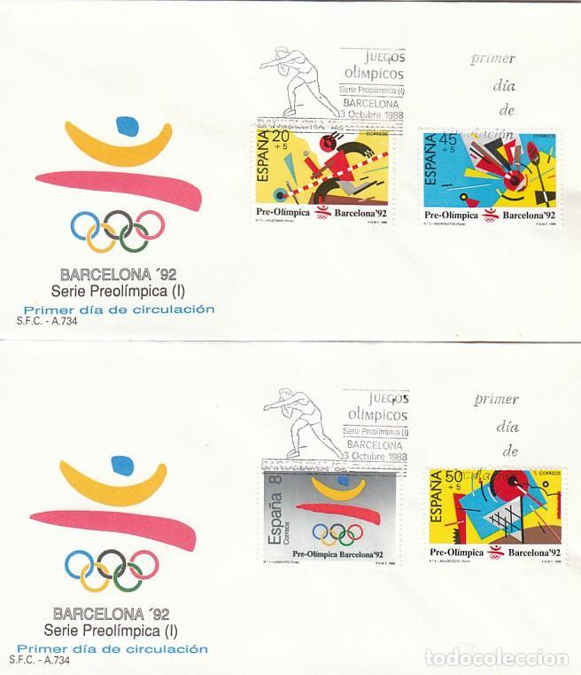 EDIFIL 2963/6, OLIMPIADA DE BARCELONA 92, PRIMER DIA DE 3-10-1988 SFC (Sellos - Temáticas - Olimpiadas)