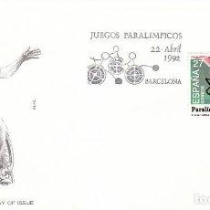 Sellos: EDIFIL 3192, JUEGOS PARALIMPICOS, PRIMER DÍA DE 22-4-1992 ALFIL. Lote 195098856