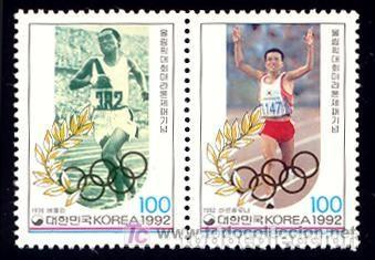 COREA SUR 1992 1568/69 BARCELONA 92 ATLETISMO 2V.B- 92. B (Sellos - Temáticas - Olimpiadas)