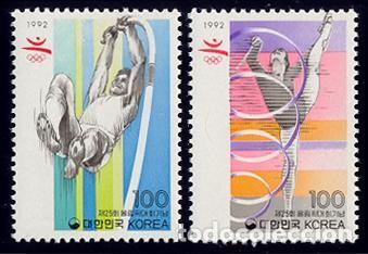 COREA SUR 1992 1558/59 B'92 GIMNASIA RITMICA, ATLETISMO 2V. B-92 I (Sellos - Temáticas - Olimpiadas)