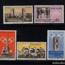 Sellos: ITALIA 788/92** - AÑO 1959 - JUEGOS OLIMPICOS DE ROMA. Lote 195308663