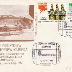 Sellos: EDIFIL 2908/9, JUEGOS OLIMPICOS BARCELONA, NOMINACION, PRIMER DIA ESPECIAL DE 15-7-1987. Lote 195485890