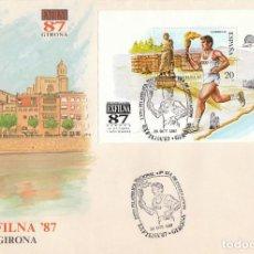 Sellos: EDIFIL 2918, JUEGOS OLIMPICOS BARCELONA, EXFILNA 1987, PRIMER DIA ESPECIAL GIRONA DE 24-10-1987 SFC. Lote 195486282