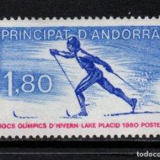 Sellos: ANDORRA 283** - AÑO 1980 - JUEGOS OLÍMPICOS DE INVIERNO DE LAKE PLACID. Lote 195489342