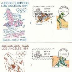 Sellos: EDIFIL 2768/71, JUEGOS OLIMPICOS DE LOS ANGELES, PRIMER DIA DE 27-7-1984 EN 3 SOBRES DE ALFIL. Lote 197110217