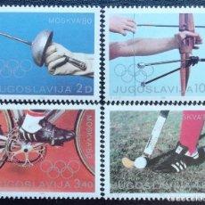 Francobolli: 1980. YUGOSLAVIA. 1707 / 1710. JUEGOS OLÍMPICOS DE MOSCÚ. SERIE COMPLETA. NUEVO.. Lote 199399237