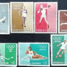 Sellos: 1960. SAN MARINO. 489 / 498. JUEGOS OLÍMPICOS DE ROMA. SERIE COMPLETA. NUEVO.. Lote 199471507