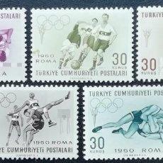 Sellos: 1960. TURQUÍA. 1562 / 1566. JUEGOS OLÍMPICOS DE ROMA. SERIE COMPLETA. NUEVO.. Lote 199476836