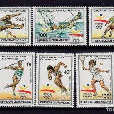 Sellos: CENTROAFRICA 831/34 Y AEREO 394/95** - AÑO 1990 - JUEGOS OLIMPICOS DE BARCELONA. Lote 204335931