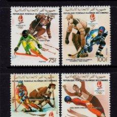 Sellos: COMORES 519/20 Y AEREO 296/97** - AÑO 1990 - JUEGOS OLIMPICOS DE INVIERNO DE ALBERTVILLE. Lote 204336730
