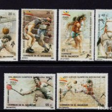 Sellos: SALVADOR 1061/64 Y AEREO 677/78** - AÑO 1990 - JUEGOS OLIMPICOS DE BARCELONA. Lote 204711288
