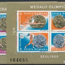 Sellos: RUMANIA 1988 HB IVERT 199/200 *** MEDALLAS DE LOS JUEGOS OLIMPICOS DE SEUL - DEPORTES. Lote 204806521