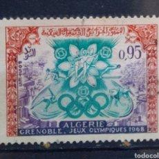 Sellos: ARGELIA OLÍMPIADAS DE INVIERNO GRENOBLE 1968 SELLO USADO. Lote 206312818