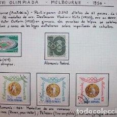 Sellos: 5 SELLOS DE LA XVI OLIMPIADA MELBOURNE 1956. Lote 173397358