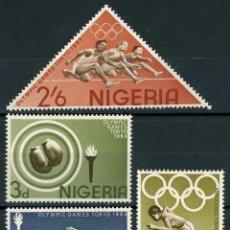 Sellos: NIGERIA 1964 IVERT 161/4 ** JUEGOS OLIMPICOS DE TOKIO - DEPORTES. Lote 211668261