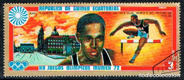 GUINEA ECUATORIAL Nº 108, LEE QUINCY CALHOUN,MEDALLA EN 110 METROS VALLAS EN MUNICH, USADO (Sellos - Temáticas - Olimpiadas)