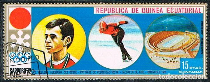 GUINEA ECUATORIAL Nº 34, E.KELLER, MEDALLA EN PATINAJE, OLIMPIADA DE SAPPORO, USADO (Sellos - Temáticas - Olimpiadas)