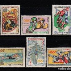 Timbres: CHECOSLOVAQUIA 1354/59* - AÑO 1964 - JUEGOS OLIMPICOS DE TOKIO. Lote 214277263