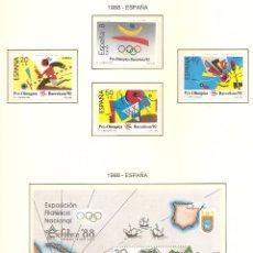 Sellos: ESPAÑA 1987. SELLOS DEDICADOS A LOS JJ.OO. BARCELONA 1992. EDIFIL HB2956 Y 2963-66. Lote 221576488