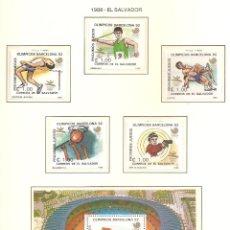 Sellos: EL SALVADOR 1988. SELLOS DEDICADOS A LOS JJ.OO. BARCELONA 1992. Lote 221576580