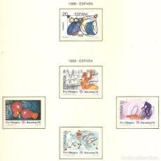Sellos: ESPAÑA 1989. SELLOS DEDICADOS A LOS JJ.OO. BARCELONA 1992. EDIFIL 2987 Y 2994-97. Lote 221577852
