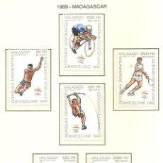 Sellos: MADAGASCAR 1989. SELLOS DEDICADOS A LOS JJ.OO. BARCELONA 1992. Lote 221578563