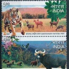 Sellos: INDIA 2007 IVERT 1974/8 *** FAUNA Y FLORA - PARQUES NACIONALES DE LA INDIA. Lote 221678500