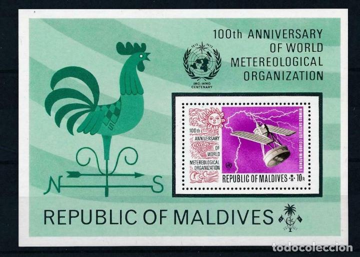 MALDIVAS 1973 HB IVERT 19 *** CENTENARIO DE LA ORGANIZACIÓN METEOROLÓGICA MUNDIAL (Sellos - Temáticas - Olimpiadas)