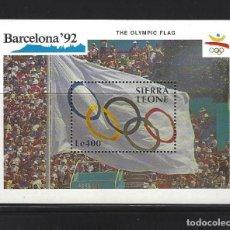 Sellos: SIERRA LEONA 1990 HB 142 BANDERA BARCELONA 92 DEPORTES. Lote 222596466
