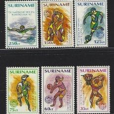 Sellos: SURINAME 1992 1255/60 6V. BARCELONA 92 DEPORTES EN DIBUJO. Lote 222685768