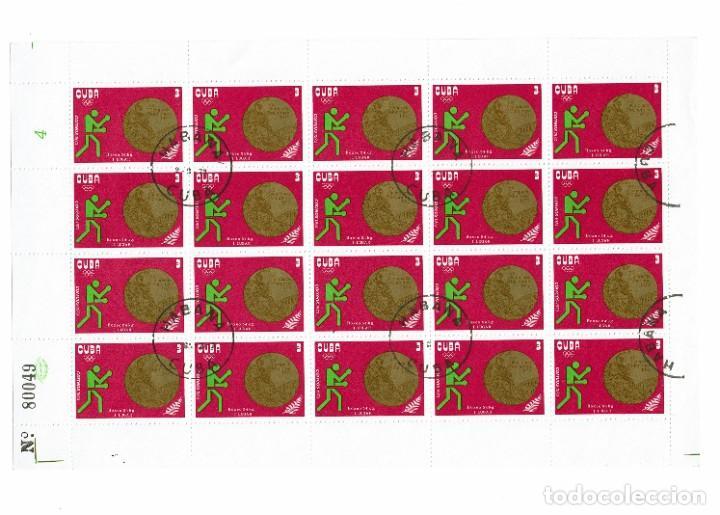 Sellos: Cuba Olimpiadas 1972. Pliego completo de Sellos emitidos en 1973, matasellados en Cuba La Habana - Foto 2 - 223647831
