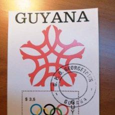 Sellos: GUYANA - HOJA BLOQUE - VALOR FACIAL 3,5 - JUEGOS OLIMPICOS DE INVIERNO, CALGARY 1988. Lote 225108746