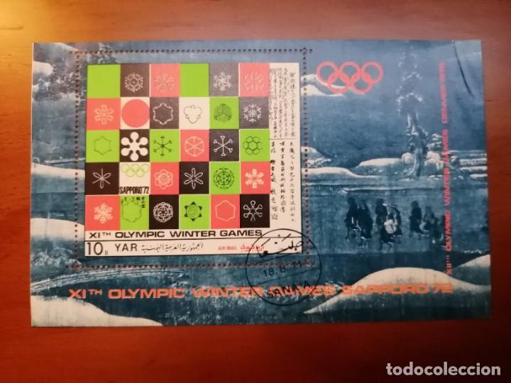 YAR - YEMEN - HOJA BLOQUE - VALOR FACIAL 10 - OLIMPIADA SAPPORO 1972 (Sellos - Temáticas - Olimpiadas)