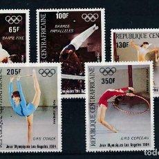 Sellos: CENTROAFRICANA 1984 AÉREO IVERT 298/302 *** DEPORTES - JUEGOS OLÍMPICOS DE LOS ANGELES. Lote 228025265
