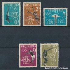 Sellos: ALBANIA 1962 IVERT 576/80 *** JUEGOS OLÍMPICOS DE TOKIO (I) - DEPORTES. Lote 228159985