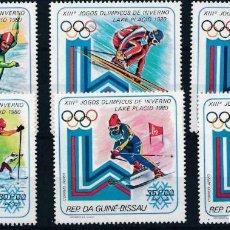 Sellos: GUINEA BISSAU 1980 IVERT 122/5 Y AÉREO 58/9 *** JUEGOS OLÍMPICOS INVIERNO EN LAKE PLACID - DEPORTES. Lote 230234340